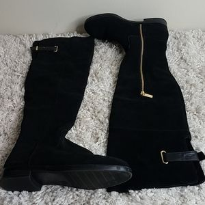 Merona Black Suede Over the Knee Flat Boots 7.5M